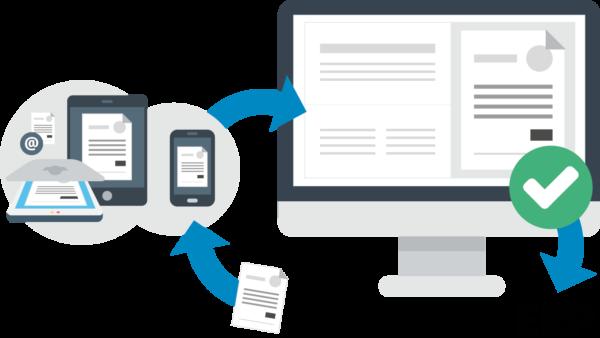 Stationær computer med pile der illustrerer dokumenter og ERP