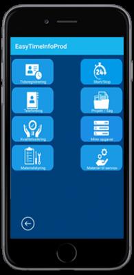 Oversigt over EasyTime mobil app menu. Blå baggrund med 8 knapper.